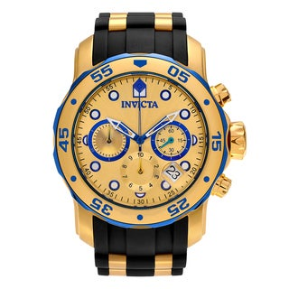 Invicta Men's 'Pro Diver' 17887 Goldtone Stainless Steel Chronograph Dial Strap Watch