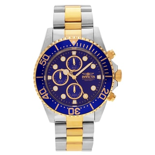 Invicta Men's 1773 'Pro Diver' Two Tone Stainless Steel Blue Chronograph Dial Link Bracelet Watch