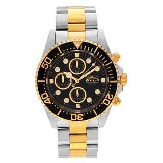 Invicta Men's 'Pro Diver' 1772 Two Tone Stainless Steel Black Chronograph Dial Link Bracelet Watch