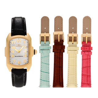 Invicta Women's 13834 'Lupah' Goldtone Stainless Steel Mother of Pearl Dial Leather Strap Watch Set