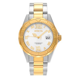 Invicta Women's 12852 'Pro Diver' Two Tone Stainless Steel Rhinestone Roman Numeral Dial Link Bracelet Watch