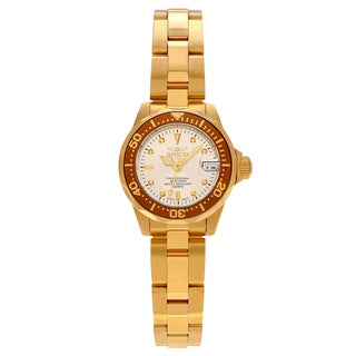 Invicta Women's 'Pro Diver' 12527 Goldtone Stainless Steel Thin Link Bracelet Watch