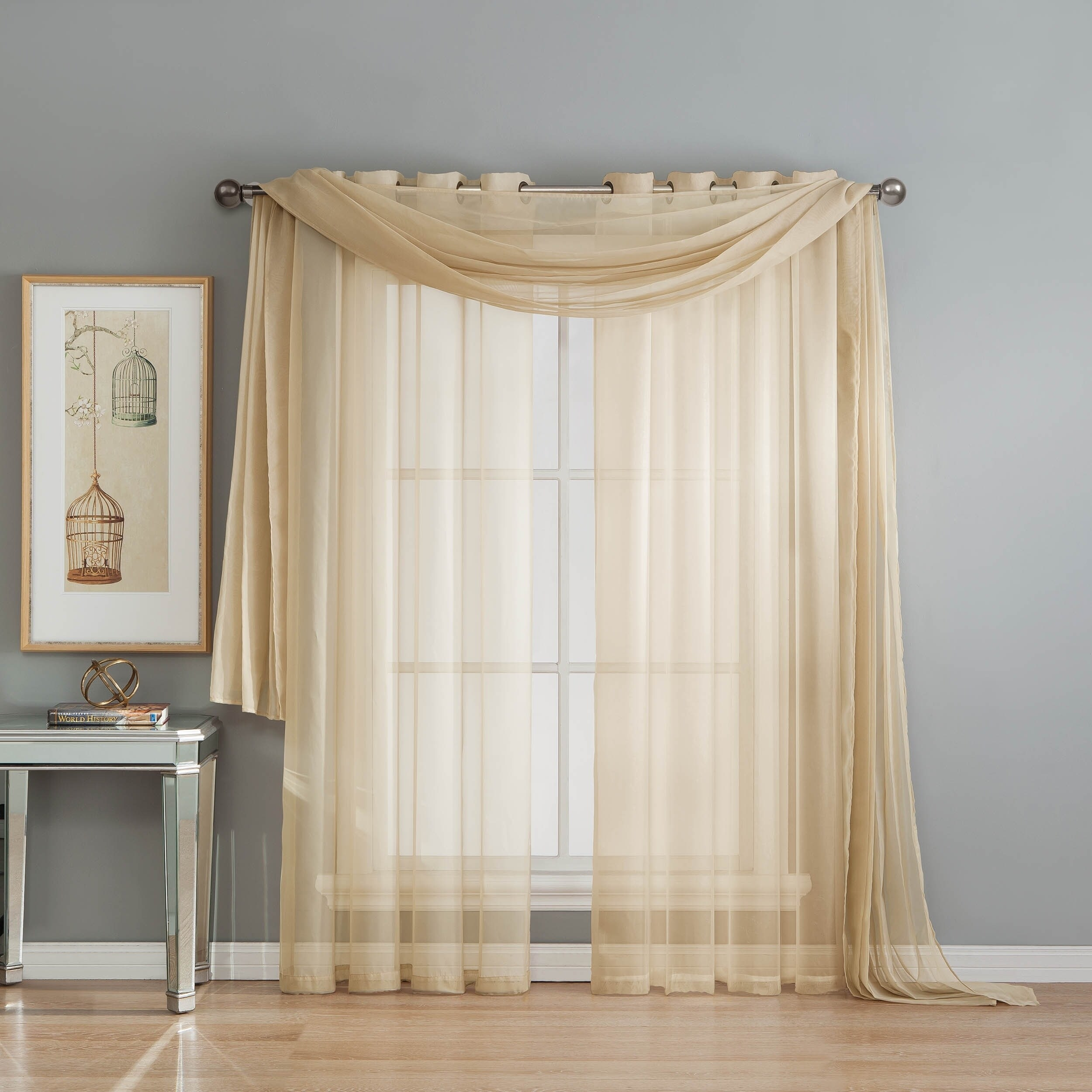 Window Elements Sheer Voile 216-inch Curtain Scarf - 54 x...