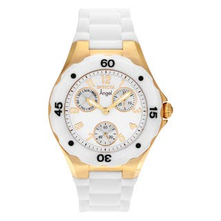 Invicta Women's 0718 'Angel' Goldtone Stainless Steel Chronograph Dial Silicone Strap Watch|https://ak1.ostkcdn.com/images/products/14532211/P21085198.jpg?impolicy=medium