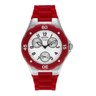 Invicta Women's 0701 'Angel' Stainless Steel Chronograph Dial Red Silicone Strap Watch|https://ak1.ostkcdn.com/images/products/14532213/P21085199.jpg?impolicy=medium