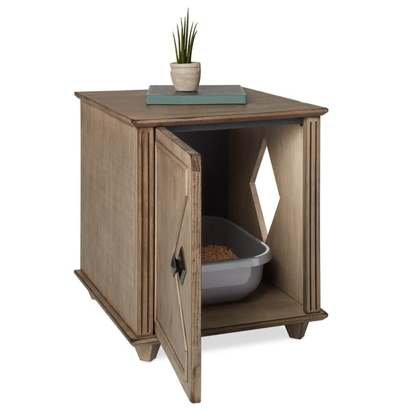 Weathered Hidden Kitty Litter Box and Side Table - Free Shipping Today - Overstock.com - 21085213  sc 1 st  Overstock & Weathered Hidden Kitty Litter Box and Side Table - Free Shipping ... Aboutintivar.Com