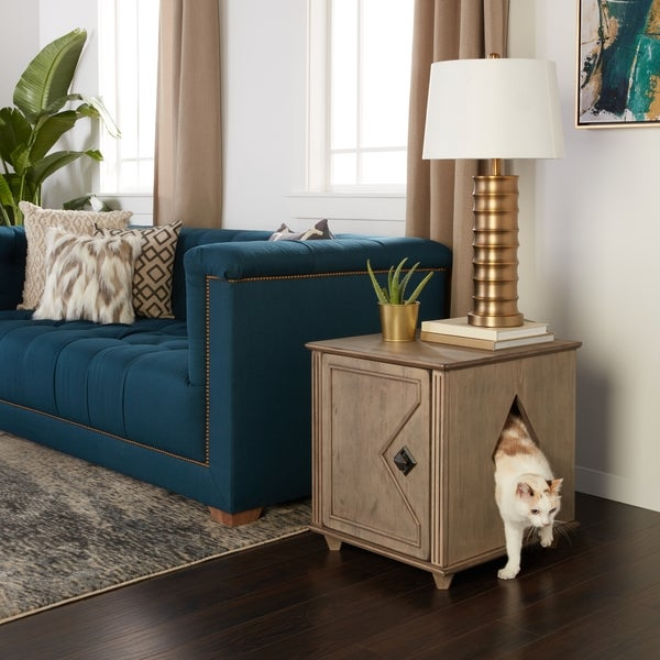 Weathered Hidden Kitty Solid Wood Litter Box And Side Table