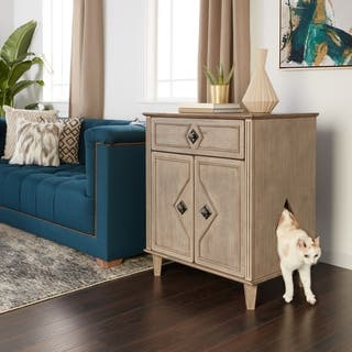 Weathered Grey Hidden Kitty Litter Double Door Side Table Large|https://ak1.ostkcdn.com/images/products/14532296/P21085216.jpg?impolicy=medium