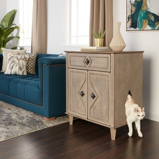 Weathered Grey Solid Wood Large Hidden Kitty Litter Double-door Side Table