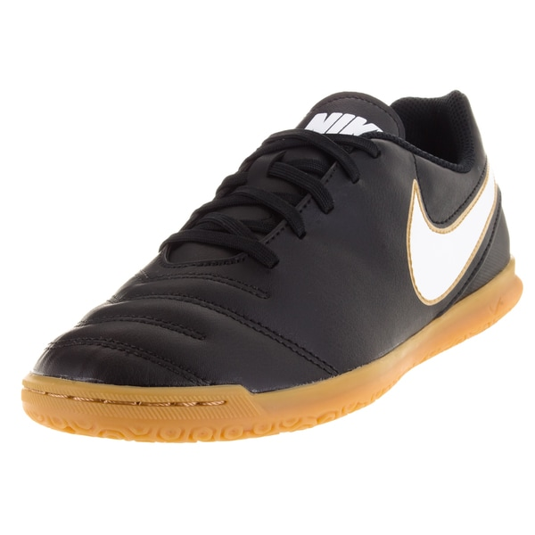 5457c00ff99 Nike Kids Tiempo Rio II IC Black Synthetic Leather Indoor Soccer Shoes