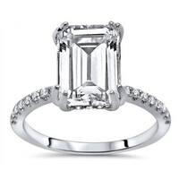 Noori 14k White Gold Moissanite and 1/3ct TDW White Diamond Engagement Ring (G-H, SI1-SI2)