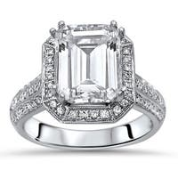 Noori 18k White Gold Emerald Cut Moissanite and 2/5ct TDW White Diamond Engagement Ring (G-H, SI1-SI2)
