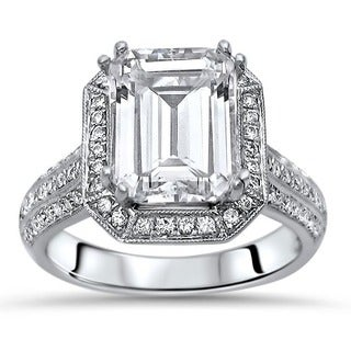 Noori 18k White Gold Emerald Cut Moissanite and 2/5ct TDW White Diamond Engagement Ring (G-H, SI1-SI2) (5 options available)