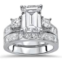 Noori 14k White Gold Moissanite and 1 3/5ct TDW White Diamond Bridal Set (G-H, SI1-SI2)