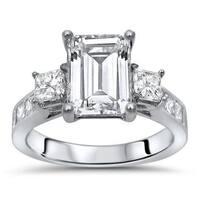 Noori 14k White Gold Moissanite and 1ct TDW White Diamond Engagement Ring (G-H, SI1-SI2)