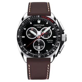 Certina Men's DS Royal C010-417-16-051-00 Brown Cream Stitching Leather Strap Black Dial Watch|https://ak1.ostkcdn.com/images/products/14532395/P21085350.jpg?impolicy=medium