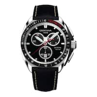 Certina Men's DS Royal  Black/White Stitching Strap with Black Dial Leather Watch