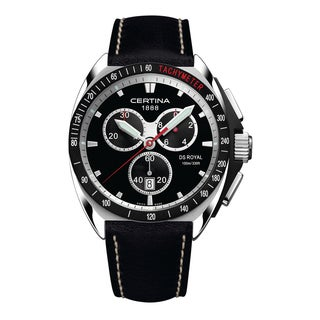 Certina Men's DS Royal C010-417-16-051-02 Black/White Stitching Strap with Black Dial Leather Watch