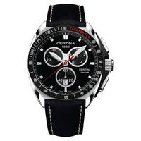 CERTINA DS Royal  Black White Stitching Strap with Black Dial Leather Men's Watch