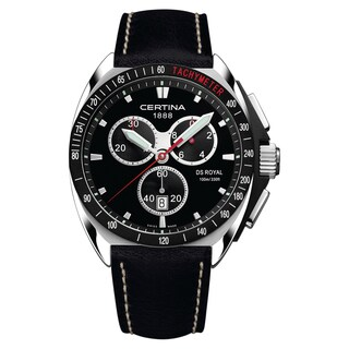 CERTINA DS Royal C010-417-16-051-01 Black White Stitching Strap with Black Dial Leather Men's Watch