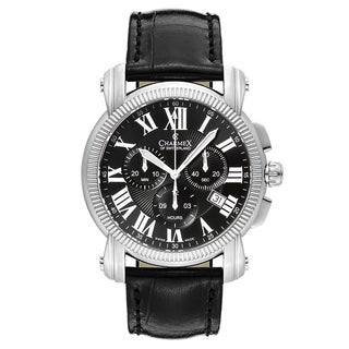 Charmex Aspen Men's Black Strap with Black Dial Leather Watch