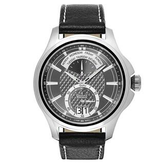Charmex Men's Zermatt II 2566 Black Leather Strap with Dark Grey Dial Watch