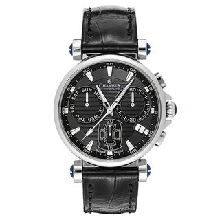 Charmex Men's Fifth Avenue 2581 Black Leather Strap with Dark Grey Dial Watch