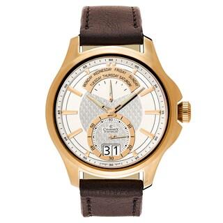 Charmex Men's Zermatt II 2560 Dark Brown Strap with White Dial Leather Watch