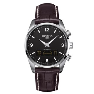 Certina Men's DS Multi-8 C020-419-16-057-00 Dark Brown White Stitching Strap with Black Dial Leather Watch