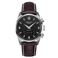 Certina Men's DS Multi-8  Dark Brown White Stitching Strap with Black Dial Leather Watch - Dark Brown/Black