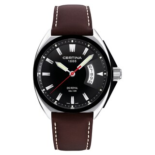 Certina DS Royal Men's C010-410-16-051-00 Brown Cream Stitching Strap with Black Dial Leather Watch