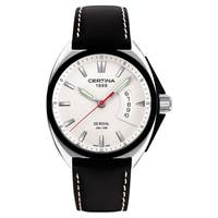 Certina Men's DS Royal  Black/White Stitching Leather Strap Silvertone Dial Watch