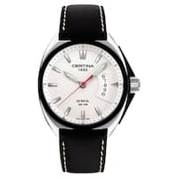 Certina Men's DS Royal C010-410-16-031-00 Black/White Stitching Leather Strap Silvertone Dial Watch