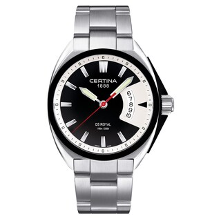 Certina Men's DS Royal C010-410-11-051-00 Silvertone Strap/Black Dial Stainless Steel Watch - silver