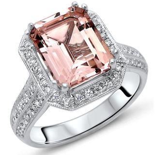 Noori 2 2/5 TGW Emerald Cut Morganite Diamond Engagement Ring 18k White Gold