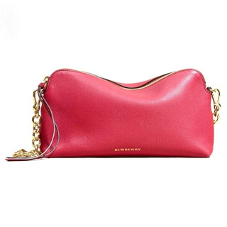 Burberry Red Grainy Leather Clutch Handbag