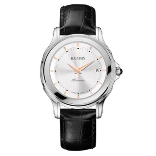 Balmain Men's Eria B18813226 Black Strap with Silver Dial Leather Watch