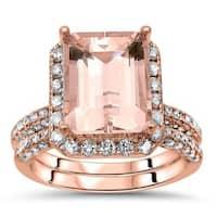 Noori 14k Rose Gold Morganite and 1 1/5ct TDW White Diamond Bridal Set (I-J, I1-I2)