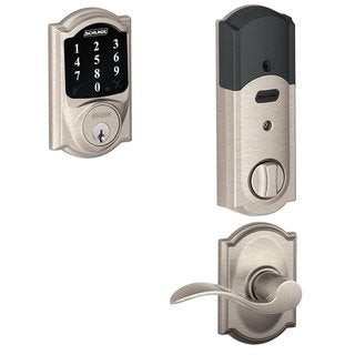 Schlage BE468 CAM619 Connect Touchscreen Deadbolt & Accent Lever in Satin Nickel