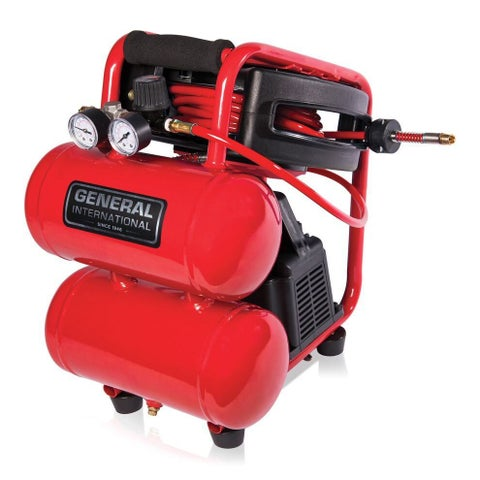 General Internationall 1/3 HP 2 Gallon Twin Stack Air Compressor with 25' auto rewind hose reel