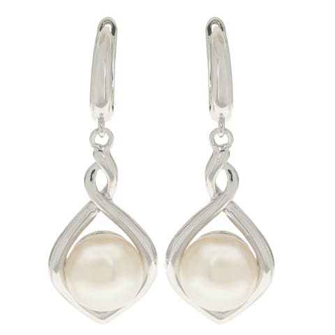 Pearls For You Women's Sterling Silver White Freshwater Button Pearl 9.5 - 10-millimeter Dangle Earrings