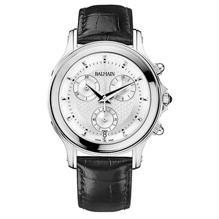 Balmain Men's Eria B68613226 Black Strap with Silver Dial Leather Watch