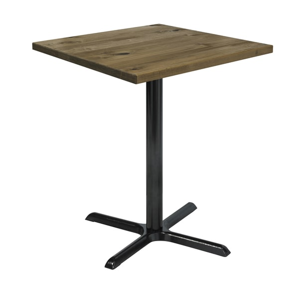 KFI Seating Urban Loft Natural Wood 30in Square Vintage Bistro Table