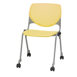 KOOL Series Yellow Polypropylene and Steel Stacking Chair