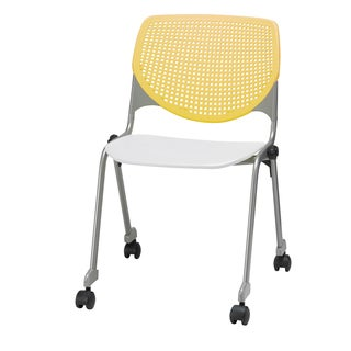 KOOL Yellow Back and White Seat Polypropylene Stack Chair with Casters