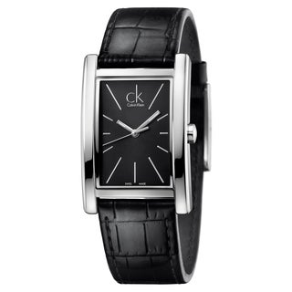 Calvin Klein Men's Refine K4P211C1 Black Strap with Black Dial Leather Watch