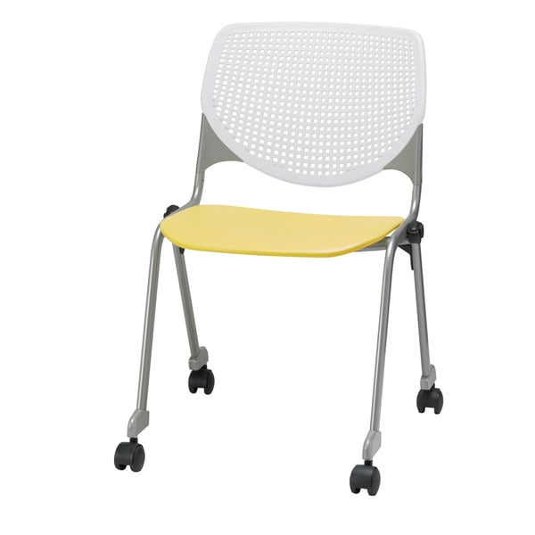 KFI KOOL White Back and Yellow Seat Polypropylene Stackable Chair with Casters