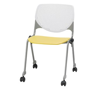 KOOL White Back and Yellow Seat Polypropylene Stackable Chair with Casters