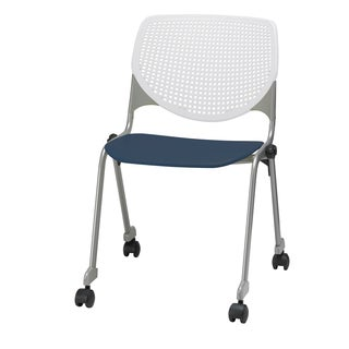 KFI KOOL White Back, Navy Seat Polypropylene Stack Chair with Casters