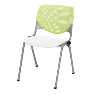 KOOL Lime Green and White Perforated-Back Poly Stack Chair